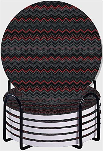 RENYC Posavasos Posavasos para Bebidas, Conjunto de montaña de Piedra cerámica Absorbente con Soporte para Soporte de Metal, Conjunto de 6 (Color : #7)