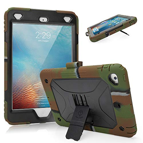 iPad Mini Case for Kids iPad Mini 2 Case iPad Mini 3 Case Heavy Duty Full-Body Rugged Protective iPad Case with Kickstand Pencil Holder for iPad Mini 1,2,3 (Army/Black)