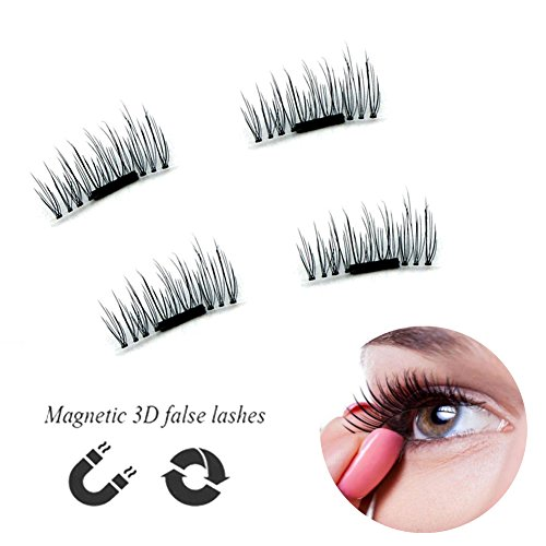 Urbun MAGNETIC False Eyelashes - Luxurious 3D Natural Mink Eye lashes, No Glue Required & Reusable, Volume Cross Black Makeup Fake Eyelash