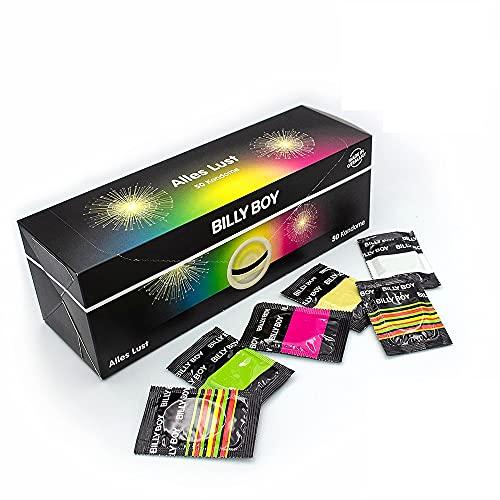 Billy Boy Alles Lust Kondome Box, Farbige, Fruchtige, Transparente und Perlgenoppte, 50er Pack