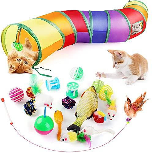 Dorakitten Katzenspielzeug Set mit Katzentunnel 20 Stück Spielzeugmäuse interaktives faltbares Tunnelspielzeug Bälle Jingle Spielzeug Katzenminze Katzen Variety Pack für Haustierkatze und Kitty