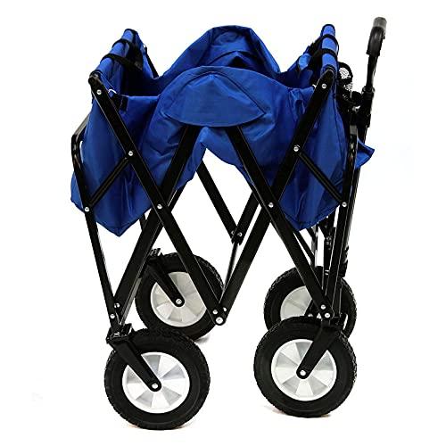 CHILD FENCE Carro Plegable de Jardín Carrito de Manual Carro de Transporte Todoterreno Carro de Mano Carro de Jardín Plegable Carga hasta 80Kg para Playa Camping,Azul