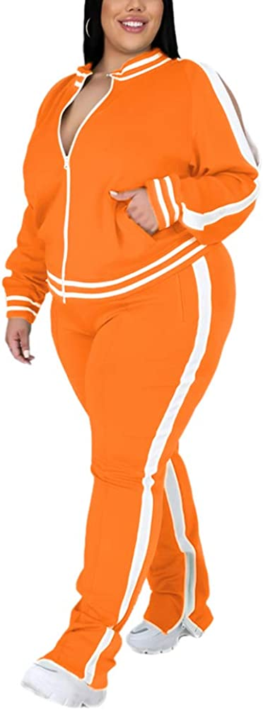 Ophestin Womens Plus Size 2 Outfit Sleeve Tracksuits Long Piece Popular brand in Choice the world