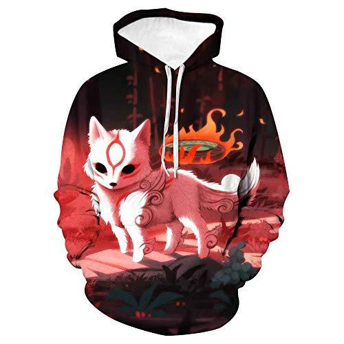 Kapuzenpullover Unisex 3D Druck Hoodies Mit Kängurutasche-Flamme Weißer Fuchs-Jungen Und Mädchen Erwachsene Kinder Cool Und Ungewöhnliche Mode Straßentanz Weihnachten Sweatshirts-XL