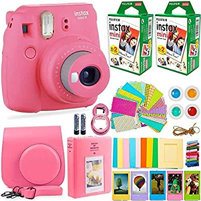 FujiFilm Instax Mini 9 Instant Camera + Fuji Instax Film (40 Sheets) + DNO Accessories Bundle - Carrying Case, Color Filters, Photo Album, Stickers, Selfie Lens + More by Fujifilm + deals number one