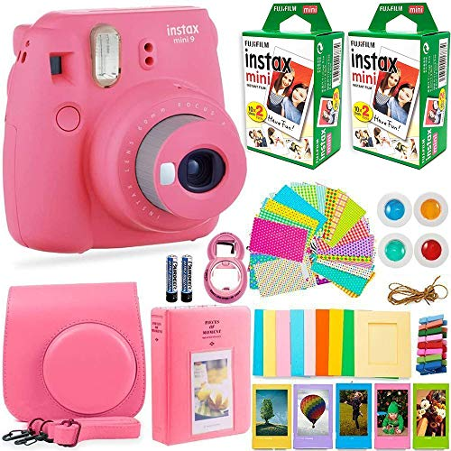 FujiFilm Instax Mini 9 Instant Camera + Fujifilm Instax Film (40 Sheets) + Deals Number ONE Accessories Bundle - Carrying Case, Color Filters, Photo Album, Stickers, Selfie Lens