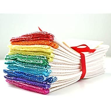 Organic Paperless Towels, 1-Ply, Made from Organically Grown Cotton Birdseye Fabric - 11x12 inches (28x30.5 cm) Set of 10 in Rainbow Assortment