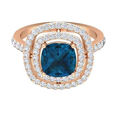 Rosec Jewels 14 quilates oro rosa cojín round-brilliant-shape H-I Blue Diamond Topacio azul - Londres