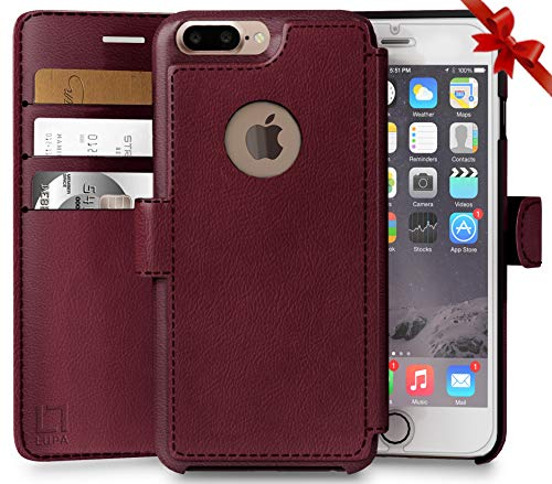 LUPA Wallet Case iPhone 8 Plus, Durable and Slim, Lightweight with Classic Design & Ultra-Strong Magnetic Closure, Faux Leather, Burgundy, Apple 8 Plus