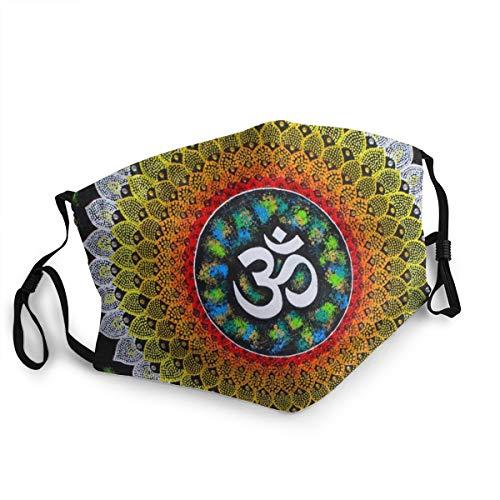 FULIYA Mundschutz für Erwachsene, Mandala, Meditation, Regenbogenfarben, Batik, verstellbare Gesichtsabdeckungen für Damen und Herren
