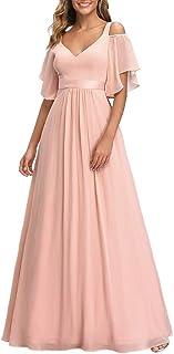 Ever-Pretty Damen Abendkleid Chiffon V-Ausschnitt A-Linie Schulterfrei mit ärmel Hohe Taille lang Brautjungfernkleider 07871
