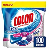 Colon Total Power Gel Caps Vanish - Detergente para lavadora con agentes quitamanchas, formato cápsulas - pack de 2, hasta 100 dosis