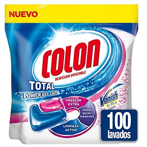 Colon Total Power Gel Caps Vanish - Detergente para lavadora con agentes quitamanchas, formato cápsulas - pack de 2, hasta 100 dosis