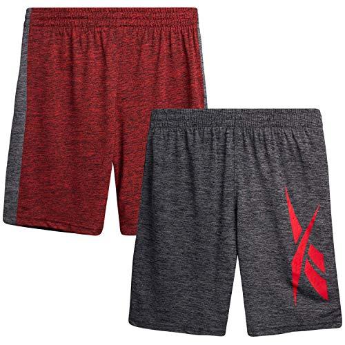 Reebok Boys' Basketball Shorts - Performance Athletic Shorts (2 Pack), Size Large, Asphalt/Crimson Red
