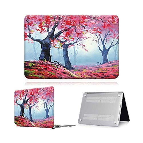 Case for Macbook Air Pro Retina 11 12 13 15 Touch Bar Painting Laptop Case Cover + Keyboard Protector for Air 13 (A 1932) A2179-Red Tree Paint-Air 11 A1370 A1465