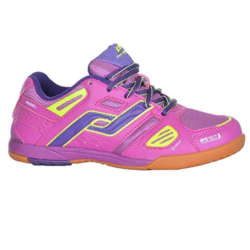 Pro Touch Kinder Hallenschuhe Sportschuhe Rebel JR. vers. Farben, Schuhgröße:37;Farbe:Pink Dark/Purple/Yellow