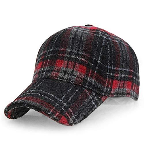 LENGXDR Cap Winter Karierte Baseballmütze Mann Frauen Baumwollhysteresen Baseball Hüte Red
