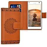 kwmobile Funda Compatible con Sony Xperia Z5 Compact - Carcasa de Cuero sintético Flor - con Tarjetero