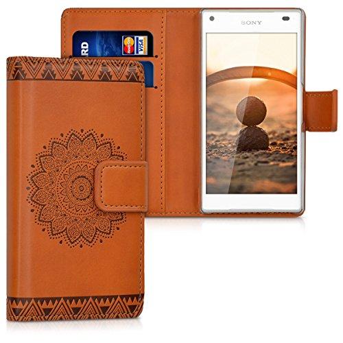 kwmobile Coque Portefeuille Compatible avec Sony Xperia Z5 Compact - Étui à Rabat avec Compartiments Cartes et Fonction Support Rosace Centrale Brun foncé