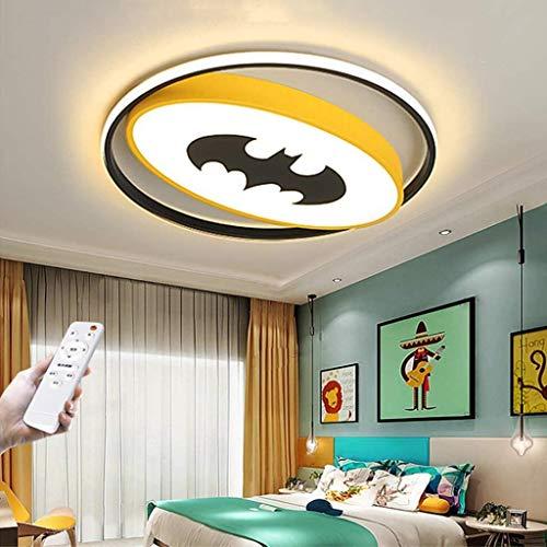 LED Plafonnier Pour Enfants Creative Batman Enfants Lampe de Plafond Dimmable Avec Télécommande Ultra Mince Acrylique Bande Dessinée Lampe Pour Enfants Chambre Salon Lustre Décorative Jaune,40cm38W