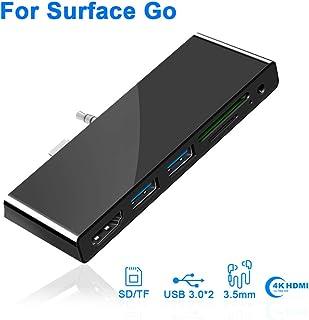 Microsoft Surface Go Docking Station USB C Hub mit HDMI Unterstützung1080P/60 Hz 2xUSB 3.0 SD/Micro SD Kartenleser 2 Slot Kartenlesegerät und TF Steckplatz und 3.5mm Audioausgang Type C Dock Adapter