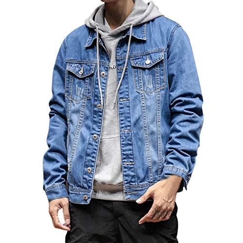 Luckycat Herren Jeansjacke Basic Stretch Jeans Jacke mit Stehkragen Übergangsjacke Hoodie Sweatjacke Freizeitjacke Sommerjacke Slim Fit Herren Jeans Jacket
