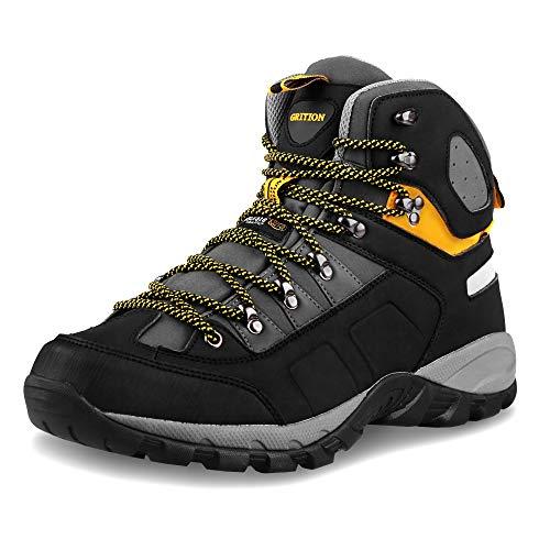 GRITION Herren Wanderschuhe Wasserdicht Leicht Stiefel Winter Trekkingschuhe Atmungsaktiv Warme Trekking-& Wanderstiefel Schuhe Einsatzstiefel Arbeitsschuhe Outdoorschuhe MEHRWEG (44 EU, Schwarz/Gelb)