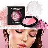 Mimore Fard à joues naturel,Poudre de maquillage professionnel Blush Finement broyé Texture lisse soyeuse Mode Outil de beauté cosmétique Maquillage du visage Blush Blush (2)