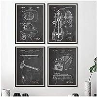 KBIASD 消防士の贈り物消防士の特許ヴィンテージキャンバスポスターとプリント消防士消防トラックブラックホワイト写真ウォールアート絵画-40x50cmx4フレームなし