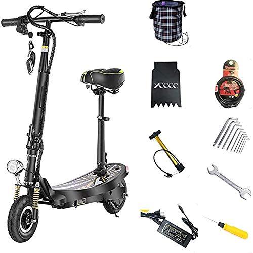 WXX Erwachsene Elektro-Scooter, tragbare Falten Zweirad-Elektro-Auto-350W Brushless Motor 15.6AH Lade Lithium-Batterie-Rollers mit Sitz Shock Absorber,Schwarz