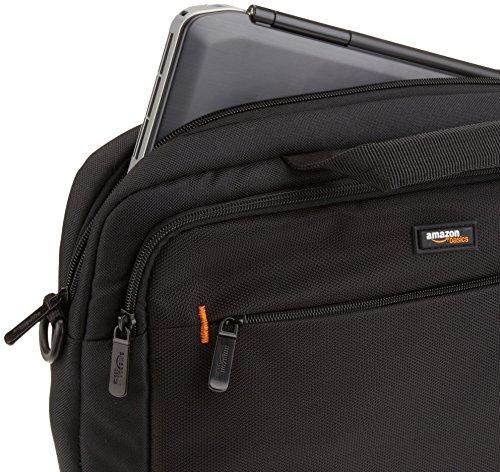 AmazonBasics Laptop-, Macbook- und Tablet-Schultertasche, für Laptops bis zu 14 Zoll (35,6 cm), Schwarz, 1 Stück - 4