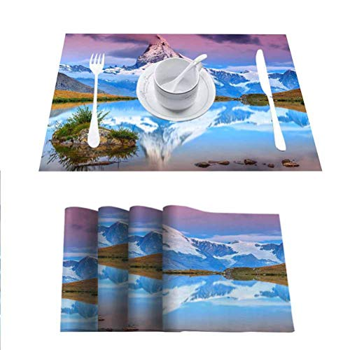 FloraGrantnan Stain Resistant Washable Table Mats Placemat, Stunning Sunrise Panorama with Matterhorn and Beautiful Alpine Lake Stellisee Valais reg, Heat-Resistant Washable Place Mats, Set of 8