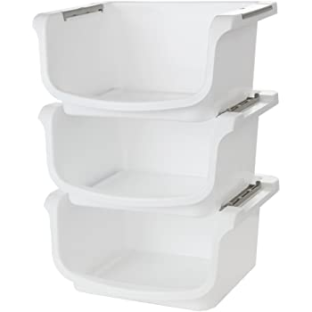 """Home-X - Small Nesting and Stackable Storage Bins, Set of 3 (Storage Area 10""""L x 8""""W x 5.75""""H)"""