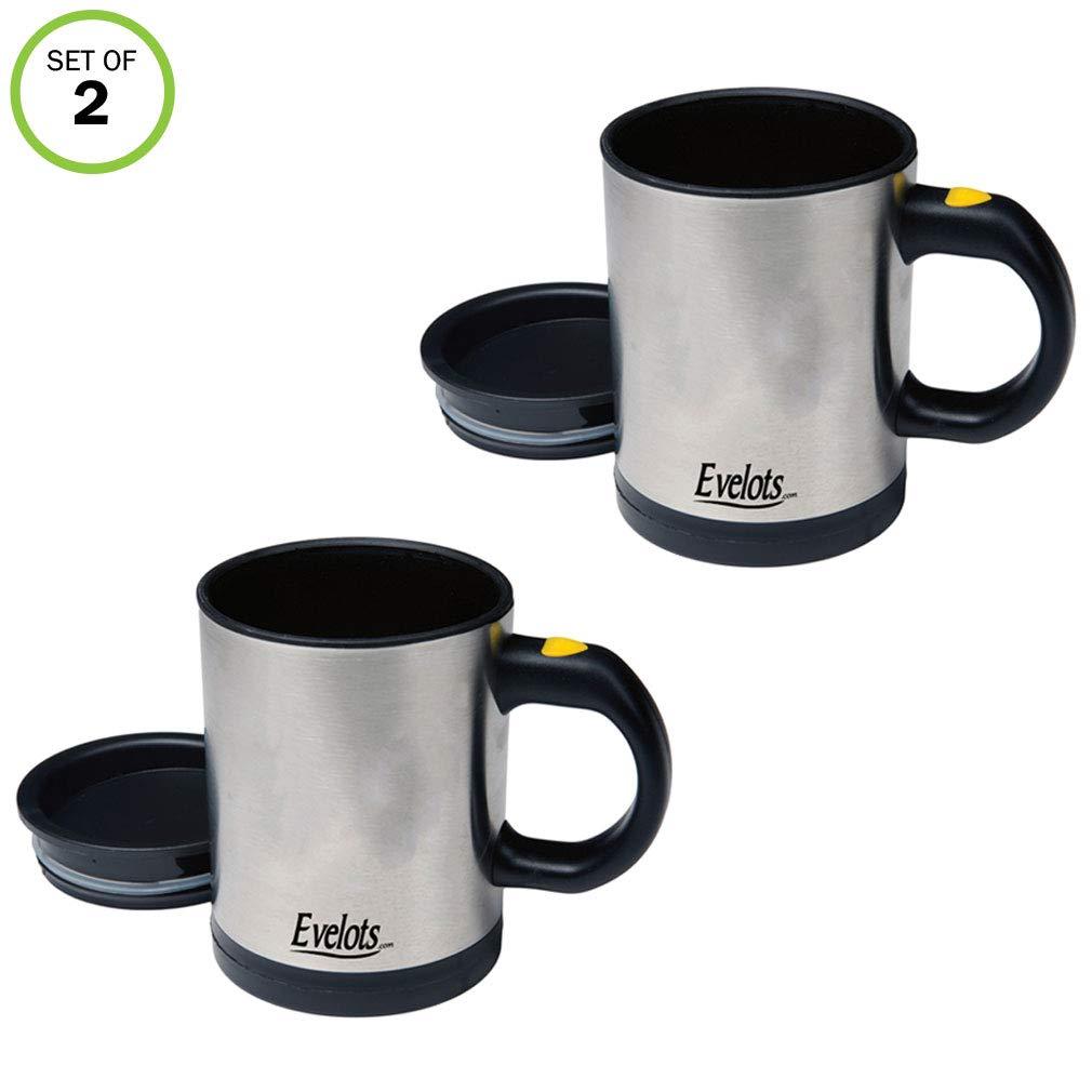 Evelots Stirring Mug Tea Juice Travel 12 ounce Stainless Steel Set