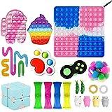 Fidget Toy Set, Big Fidget Toy Anti Stress Pop Bubble Sensory Fidget Toy with Pop Anxiety Tubes Fidget Spielzeug Set für Kinder (Big Fidget Toy-13)