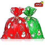 Hemoton - Bolsas de regalo gigantes de Navidad con corbatas y tarjeta de nombre, 4 unidades