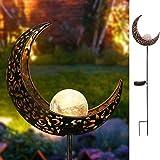 Mond Solarleuchte Solarlampen (1 Pcs) für Garten, JIAYIDA Gartenleuchte Solar Leuchte Aushöhlende Wegeleuchte mit Erdspieß Außen Beleuchtung Dekoration für Garten
