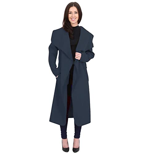 5a856e5231503 Womens Ladies Italian Trench Long Coat Waterfall Duster Cape Belted  Cardigan Jacket Plus Size UK