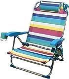 BRAVO HOME Chaise de Plage Pliante avec Oreiller, 5 Positions - Chaise pour Plage, Camping, Jardin, Aluminium et Textilène