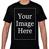 Custom Made T Shirts for Men Add Your Own Custom Text Name Image Or Message Black XL