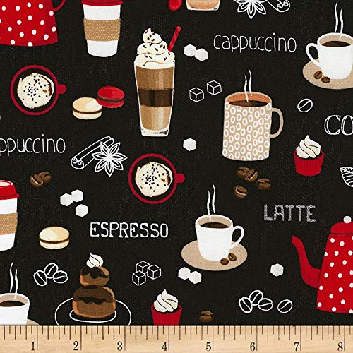 Timeless Treasures Coffee Break Mixed Coffees Quilt Fabric, Black, Quilt Fabric By The Yard
