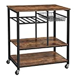 VASAGLE Baker's Rack with Wheels, Kitchen Island, Food Trolley with Metal Mesh Basket, Bottle Holder and Storage Shelves, 80 x 40 x 86.5 cm, Industrial Style, Rustic Brown KKS80X