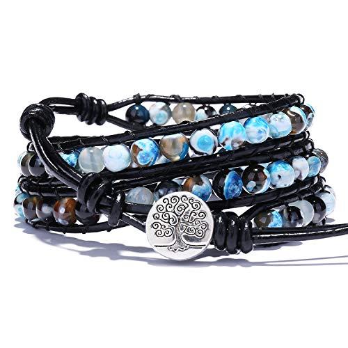 Bonnie 3 Wrap Agate Leather Bracelets Handmade Boho Bead Bangle Bracelet Gemstone Prayer Bracelet for Men Women Girls (Blue) Agate Gemstone Bracelet Bangle