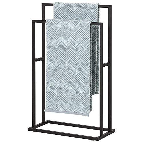 Sealskin Carré Handtuchhalter freistehend, Handtuchständer zur Aufbewahrung von 2 großen Handtüchern, auch als Kleiderständer einsetzbar, Metall, Schwarz-matt pulverbeschichtet, BxHxT: 48x78x24 cm