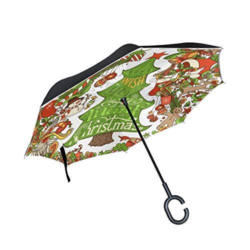 ISAOA Doppelschichtiger Regenschirm,selbststehend,freistehend,freistehend,für Autos,Weihnachtsbaum,Stechpalme,Beeren,Schneemann,Lebkuchen,Hirsch,Weihnachtsmann,Winddicht,UV-Schutz,groß,gerader Umb
