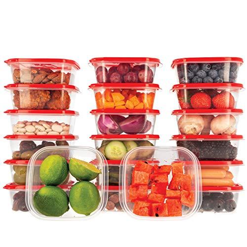 Oursson Frischhaltedose Set aus BPA-freiem Plastik, mit roten Deckel, Lunchbox (20x400 ml, Rot)