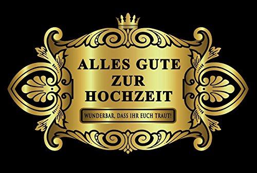 Oblique-Unique® Hochzeit Trauung Aufkleber Flaschenetikett Etikett Gold elegant