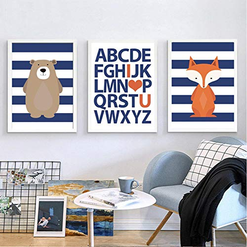 Muur kunst bos canvas poster beer en vos print kostuum marineblauw schilderij voor woonkamer decoratie 50x70cmx3 (randloos)