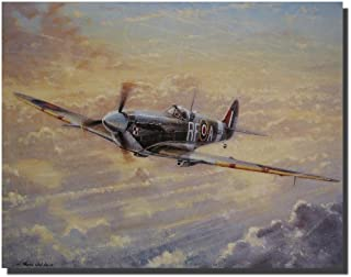 Spitfire Painting Military Airplane Aviation Wall Decor Art Print Poster (16x20)