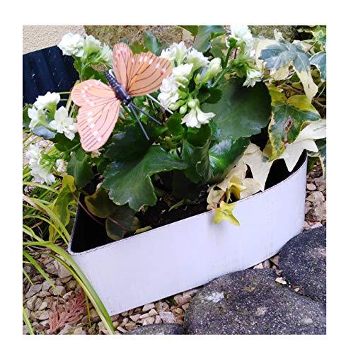 Pot de fleurs en forme de cœur - Décoration de jardin - Blanc - Aspect rouille